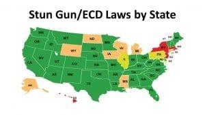 Stun gun laws by state map