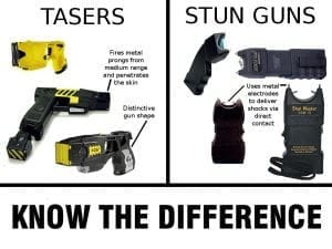 List of differences in tasers and stun guns