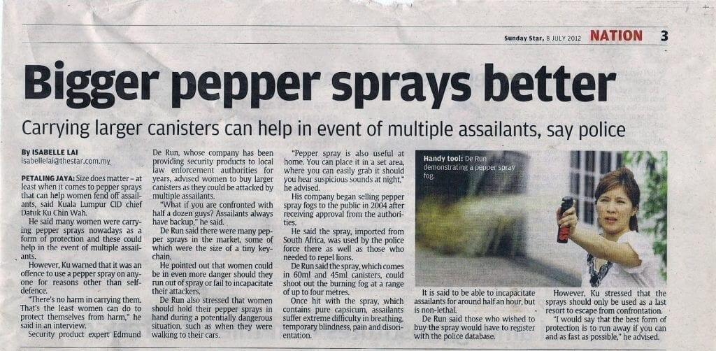 """Newspaper headline """"Bigger pepper sprays better"""""""