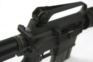 Closeup of large black firearm