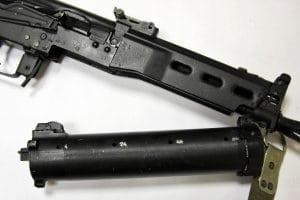 Closeup of firearm parts