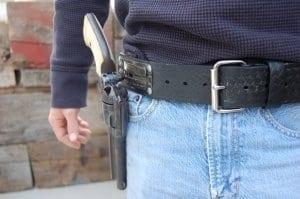 Closeup of a belt holster
