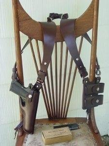 Shoulder holster on chair